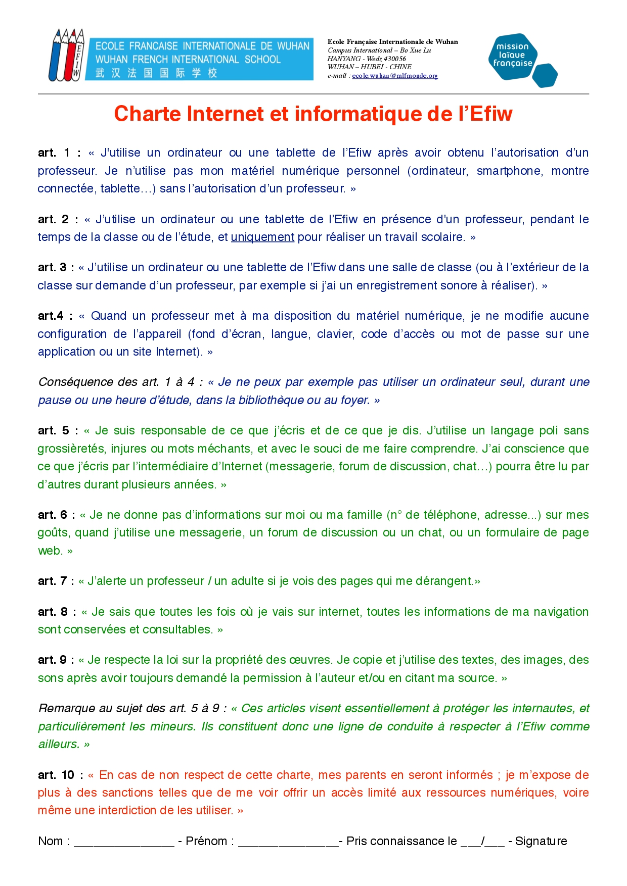Charte informatique FR